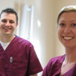 Dental assistants Rob Starkey and Samantha Ruble of Winchester Dental