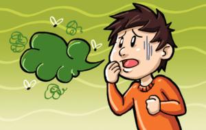 Cartoon rendering of man with bad breath