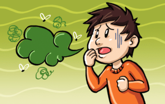Cartoon rendering of man with bad breath