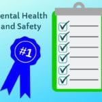 "Cartoon titled ""Dental Health and Safety"" with blue prize ribbon and clipboard showing six checkmarks"