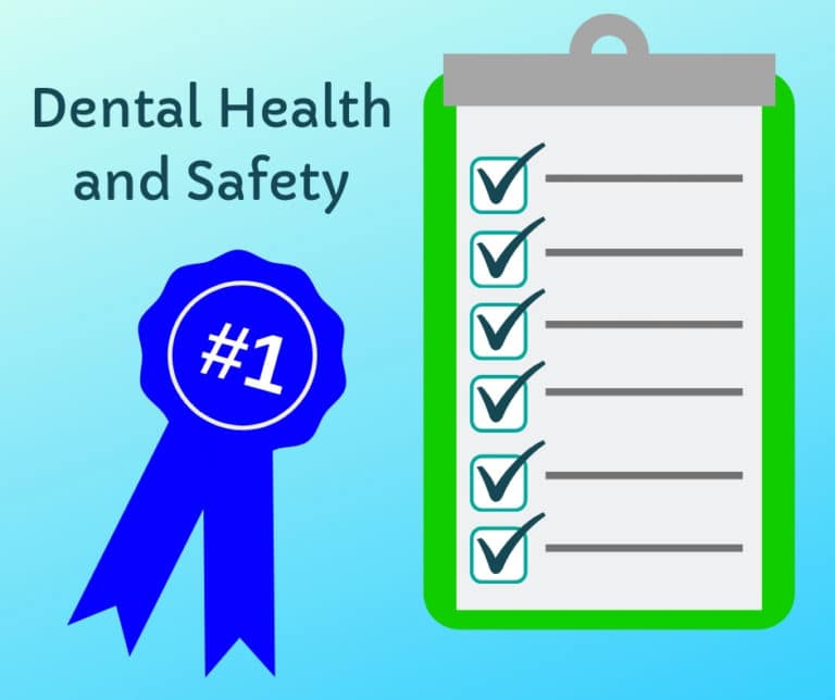 """Cartoon titled """"Dental Health and Safety"""" with blue prize ribbon and clipboard showing six checkmarks"""