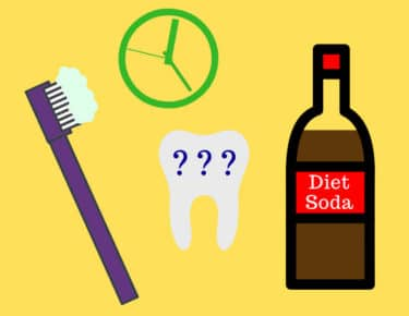 Illustration showing toothbrush with toothpaste, clock, bottle of diet soda, and tooth with question marks superimposed