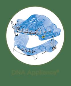 Closeup of blue plastic DNA dental appliance