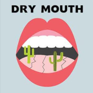 """Text """"dry mouth"""" above cartoon drawing oof open mouth showing parched tongue with cactus plants"""