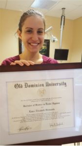 Laura Steinmetz, RDH with her diploma