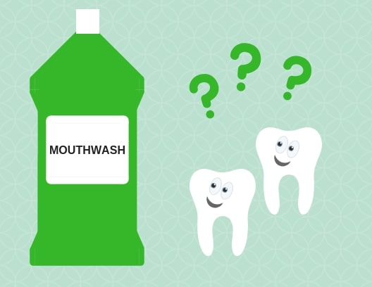 Cartoon showing two smiling teeth looking curiously at bottle of green mouthwash, with three question marks above