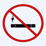"Vaping is bad for health. Illustration of an electronic cigarette behind a red ""prohibited"" symbol."