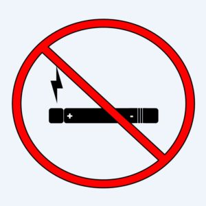 """Vaping is bad for health. Illustration of an electronic cigarette behind a red """"prohibited"""" symbol."""