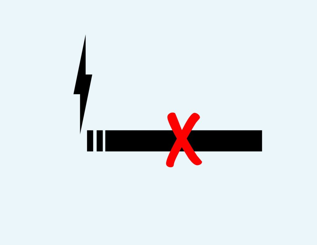 No-vaping Image of electronic cigarette crossed out with red X
