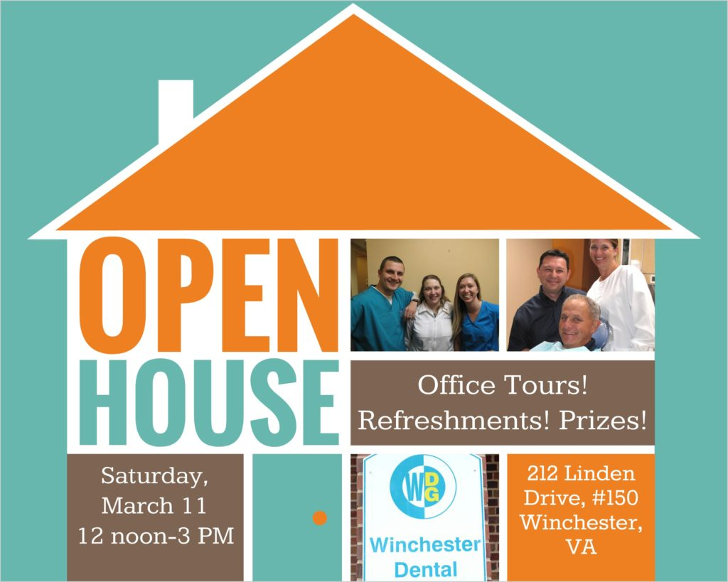 Collage advertising Winchester Dental open house event
