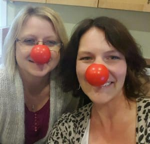 Practice managers wearing red noses for Red Nose Day 2016