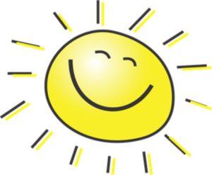 Cartoon drawing of smiling sun