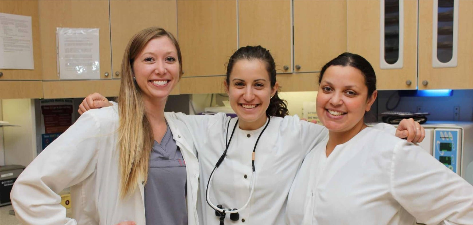 Dental assistant Samantha Ruble with hygienists Laura Steinmetz and Mistie Dodson in Winchester Dental's in-office lab