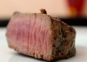 Close-up photo of a slice of cooked steak
