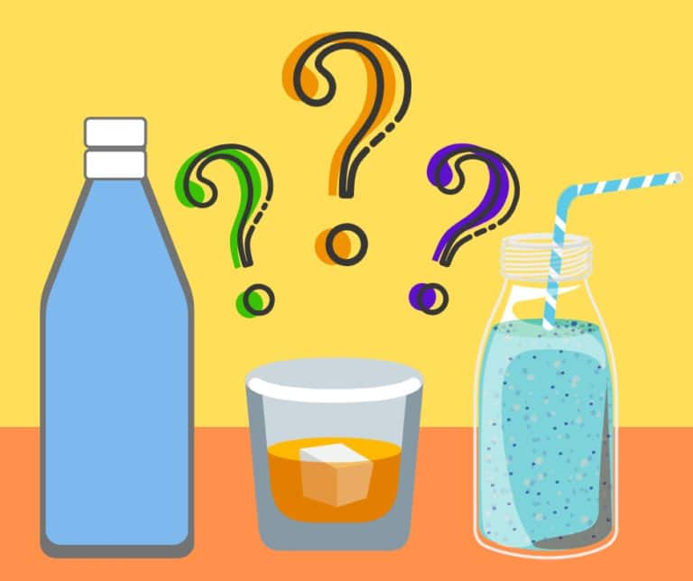 Colorful cartoon showing two unlabeled drink bottles and a drink in a glass with three question marks hovering above