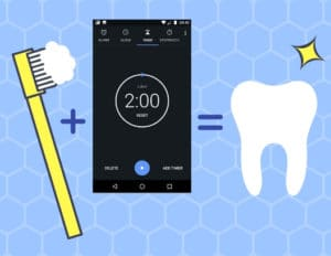 Cartoon of toothbrush, phone timer set to two minutes, and a sparkling clean tooth