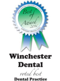 "Blue ribbon ""Best of 2016"" award for Winchester Dental from Northern Virginia Daily newspaper"