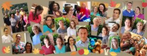 Autumn-themed collage of Winchester Dental team members