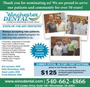 """Thank-you ad for """"Best of"""" nomination from Northern Virginia Daily newspaper"""