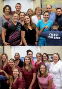 Two group shots of Winchester Dental team